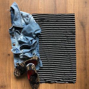 Loft B&W Striped Tube Skirt